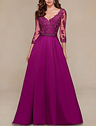 cheap -A-Line Open Back Formal Evening Dress Plunging Neck 3/4 Length Sleeve Floor Length Lace Satin with Sash / Ribbon Pleats 2021