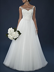 cheap -A-Line Off Shoulder Court Train Lace / Tulle Short Sleeve Wedding Dresses with Beading / Appliques 2020