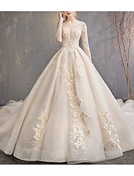cheap -A-Line Jewel Neck Court Train Lace 3/4 Length Sleeve Glamorous Backless Wedding Dresses with Lace Insert / Appliques 2020