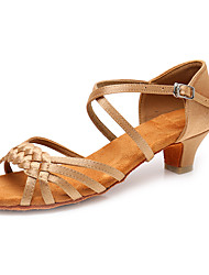 cheap -Women's Latin Shoes Ballroom Shoes Salsa Shoes Line Dance Heel Buckle Thick Heel Leopard Dark Brown White Buckle