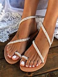 cheap -Women's Sandals Boho / Beach Flat Sandals Summer Flat Heel Open Toe Sweet Minimalism Boho Daily Beach Pearl Solid Colored PU Walking Shoes Khaki