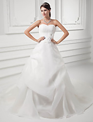 cheap -A-Line Wedding Dresses Sweetheart Neckline Chapel Train Organza Satin Strapless with Pick Up Skirt Ruched 2020