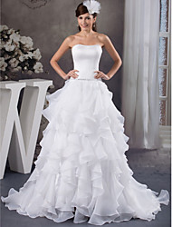 cheap -A-Line Wedding Dresses Strapless Court Train Organza Satin Strapless with Beading Cascading Ruffles 2020