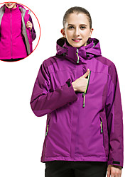 cheap -Women's Hiking 3-in-1 Jackets Hiking Jacket Hiking Windbreaker Winter Outdoor Thermal / Warm Waterproof Windproof Breathable Fleece Jacket Top Camping / Hiking Hunting Ski / Snowboard Purple Fuchsia