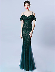 cheap -Mermaid / Trumpet Spaghetti Strap Sweep / Brush Train Sequined Dress with Sequin by LAN TING Express