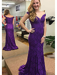 cheap -Mermaid / Trumpet Off Shoulder Sweep / Brush Train Lace Elegant Prom / Formal Evening Dress with 2020