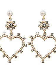 cheap -Women's Drop Earrings Earrings Dangle Earrings Chandelier Sweet Heart Heart Love Holiday Romantic Korean Cute Elegant Imitation Pearl Earrings Jewelry Gold / White For Wedding Engagement Gift Daily