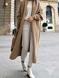 cheap -Women's Daily Fall & Winter Long Coat, Solid Colored Rolled collar Long Sleeve Polyester Khaki