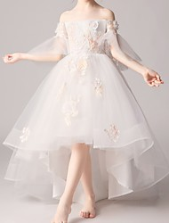 cheap -A-Line Asymmetrical Pageant Flower Girl Dresses - Polyester Half Sleeve Off Shoulder with Appliques