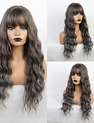 cheap -Synthetic Wig Bangs Curly Water Wave Side Part Neat Bang With Bangs Wig Medium Length Ombre Color Synthetic Hair 24 inch Women's Cosplay Women Synthetic Dark Gray Brown HAIR CUBE / Ombre Hair