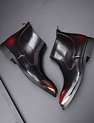 cheap -Men's Fashion Boots Combat Boots Casual / Vintage Party & Evening Office & Career Boots Walking Shoes Patent Leather Breathable Handmade Non-slipping Booties / Ankle Boots Black / Red / Gold Gradient