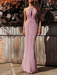 cheap -Sheath / Column Halter Neck Floor Length Polyester Dress with Pleats by LAN TING Express