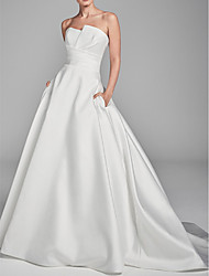 cheap -A-Line Strapless Sweep / Brush Train Charmeuse Strapless Wedding Dresses with Draping 2020