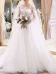 cheap -A-Line Wedding Dresses Jewel Neck Floor Length Lace Long Sleeve Illusion Sleeve with Lace Insert Appliques 2020