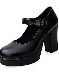 cheap -Women's Heels Chunky Heel Round Toe PU Winter Black / Wine / Daily