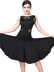 cheap -Women's Flapper Girl Latin Dance Flapper Dress Party Costume Tassel Flapper Costume Lace Polyster Black Purple Fuchsia Dress