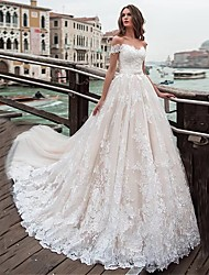 cheap -Ball Gown / A-Line Off Shoulder Chapel Train Lace / Tulle Short Sleeve Wedding Dresses with Appliques 2020