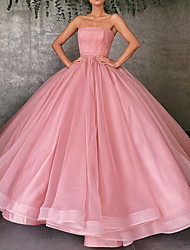 cheap -Ball Gown Strapless Floor Length Organza Strapless Plus Size Wedding Dress Made-To-Measure Wedding Dresses with Draping 2020