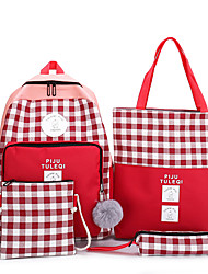 cheap -Women's Pom-pom Canvas Bag Set Lattice 4 Pieces Purse Set Black / Red / Gray