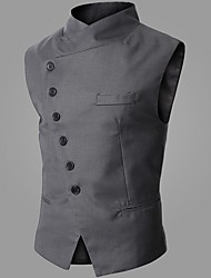 cheap -Men's Vest, Solid Colored Stand Polyester Black / Gray