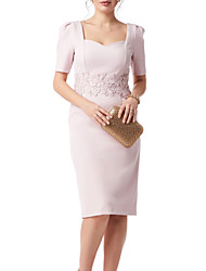 cheap -Sheath / Column Square Neck Knee Length Lace Short Sleeve Plus Size Mother of the Bride Dress with Appliques / Split Front 2020