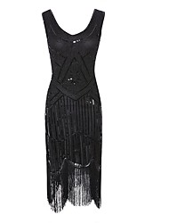cheap -Dance Costumes Vintage / 1920s / The Great Gatsby Women's Performance Polyester Tassel / Crystals / Rhinestones / Paillette Dress