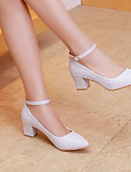 cheap -Women's Wedding Shoes Chunky Heel Pointed Toe Daily PU Winter White Gold