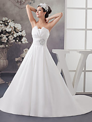 cheap -A-Line Wedding Dresses Strapless Chapel Train Satin Strapless with Ruched Beading Draping 2020