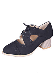 cheap -Women's Heels Chunky Heel Round Toe Synthetics Vintage / Casual Spring & Summer Black / Light Brown / Gray