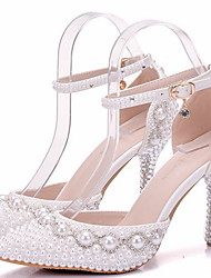 cheap -Women's Wedding Shoes Glitter Crystal Sequined Jeweled Stiletto Heel Round Toe PU Spring &  Fall White