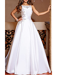 cheap -A-Line Jewel Neck Court Train Stretch Satin Regular Straps Made-To-Measure Wedding Dresses with Appliques 2020