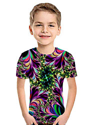 cheap -Kids Boys' Active Street chic Geometric 3D Patchwork Print Short Sleeve Hoodie & Sweatshirt Rainbow