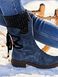 cheap -Women's Boots Chunky Heel Round Toe Daily PU Booties / Ankle Boots Winter Black Purple Red