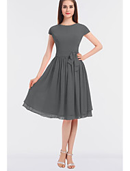 cheap -A-Line Jewel Neck Knee Length Chiffon Bridesmaid Dress with Bow(s) / Ruching