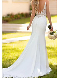 cheap -Mermaid / Trumpet V Neck Sweep / Brush Train Lace / Charmeuse Regular Straps Sexy Backless Wedding Dresses with Draping / Appliques 2020
