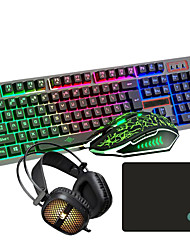 cheap -USB Wired LOL Gaming Keyboard Mouse Headband and Pad Combos Suspension Illuminous Gamers 4 Pcs