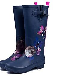 cheap -Women's Boots Low Heel Round Toe Rubber Knee High Boots Fall Dark Blue