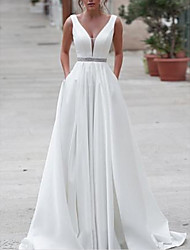 cheap -A-Line V Neck Sweep / Brush Train Satin Regular Straps Wedding Dresses with Sashes / Ribbons / Buttons 2020