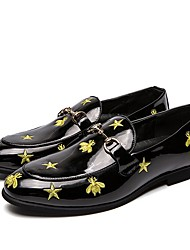 cheap -Men's Comfort Shoes Patent Leather Spring & Summer Loafers & Slip-Ons Black
