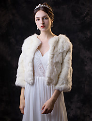 cheap -3/4 Length Sleeve Faux Fur Wedding / Party / Evening Women's Wrap With Solid Coats / Jackets