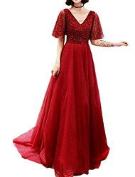 cheap -A-Line V Neck Sweep / Brush Train Polyester Dress with Beading / Sequin by LAN TING Express