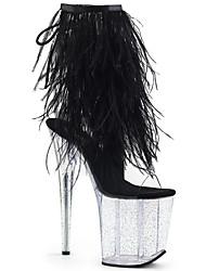 cheap -Women's Boots Stiletto Heel Peep Toe PU Booties / Ankle Boots British Fall & Winter Black / White / Fuchsia / Wedding / Party & Evening