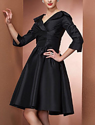 cheap -A-Line V Neck Knee Length Taffeta 3/4 Length Sleeve Elegant Mother of the Bride Dress with Pleats 2020