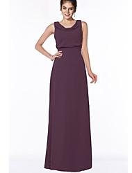 cheap -A-Line Jewel Neck Floor Length Chiffon Bridesmaid Dress with Ruching