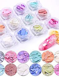 Недорогие -12 цвет японский нерегулярные русалка сломанная раковина блестки для ногтей блестки морское ушко ломтик 3d маникюр очарование лак для ногтей художественные украшения