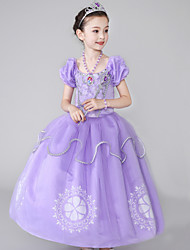 cheap -Sofia Cosplay Costume Flower Girl Dress Kid's Girls' A-Line Slip Dresses Mesh Christmas Halloween Carnival Festival / Holiday Silk Organza Purple Carnival Costumes Flower / Cotton
