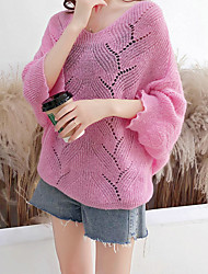 cheap -Women's Solid Colored Long Sleeve Pullover Sweater Jumper, V Neck White / Blushing Pink / Yellow One-Size