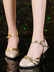 cheap -Women's Modern Shoes / Ballroom Shoes Nappa Leather Buckle Heel Buckle Cuban Heel Dance Shoes Gold / Silver / Performance / Practice