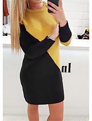 cheap -Women's White Black Dress Basic Shift Color Block S M / Velvet