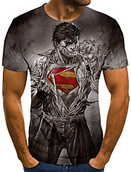 baratos -Homens Camiseta 3D / Arco-Íris Cinzento